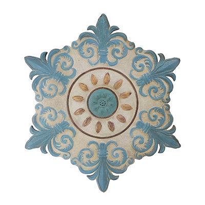 Ivory and Turquoise Fleur-de-Lis Metal Tile