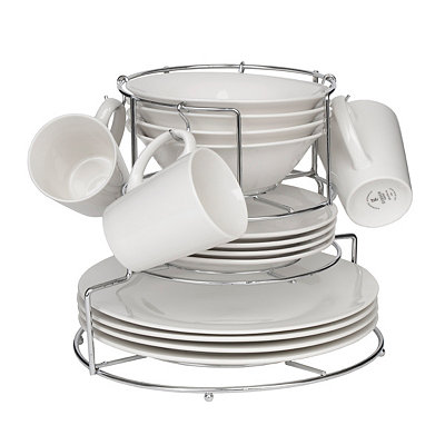 Cafe Monte Ivory 16-pc. Dinnerware Set with Rack