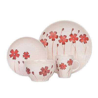 Red Floral Ohara 16-pc. Dinnerware Set