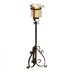 Glass and Metal Floor Candle Holder, 24 in.