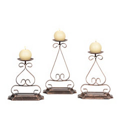 Distressed Bronze Metal Candle Holders, Set of 3