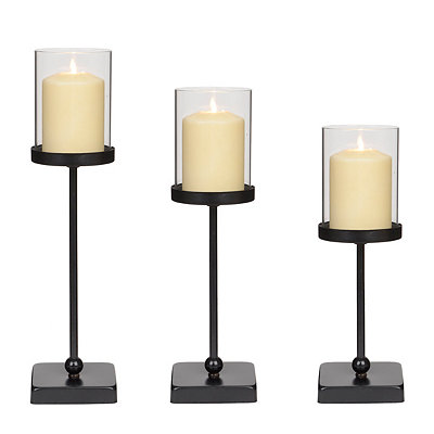 Black Skinny Wood & Metal Candle Holders, Set of 3
