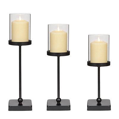 Black Skinny Wood & Metal Candle Holders, Set of 3