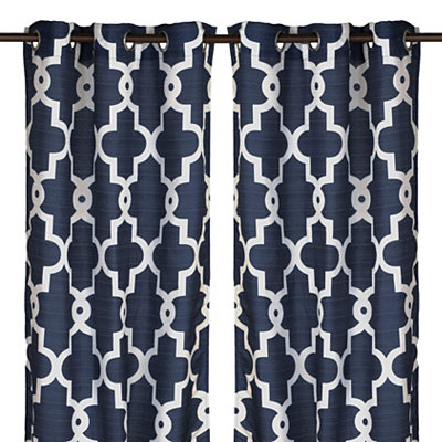 Navy Maxwell Curtain Panel Set, 84 in.