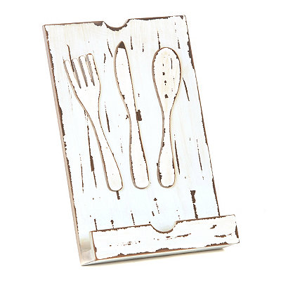 Whitewash Wooden Cookbook Holder