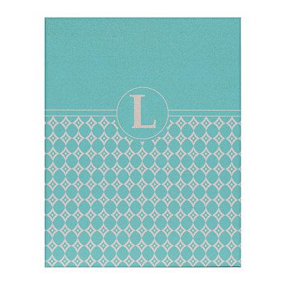 Turquoise Geometric Monogram L Corkboard