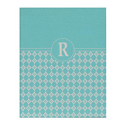 Turquoise Geometric Monogram R Corkboard