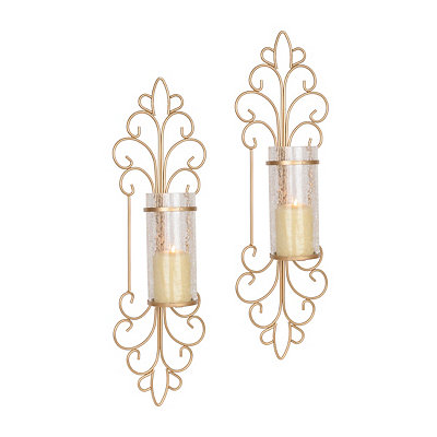 Metallic Gold Scroll Sconces, Set of 2