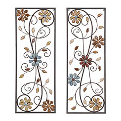 Olivia Stone Floral Metal Plaques, Set of 2