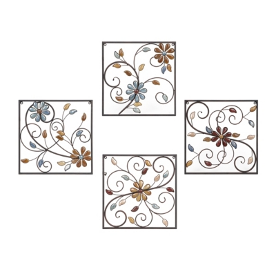 Olivia Stone Floral Square Metal Plaques, Set of 4