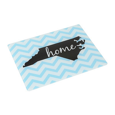 Chevron North Carolina Glass Cutting Board