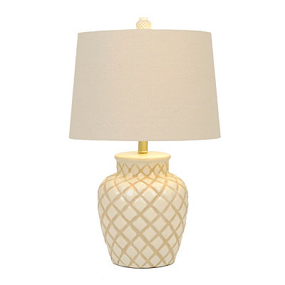 Cream Diamond Ceramic Table Lamp