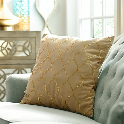 Metallic Gold Moroccan Sequin Pillow