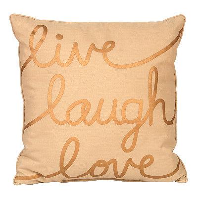 Metallic Gold Live Laugh Love Pillow