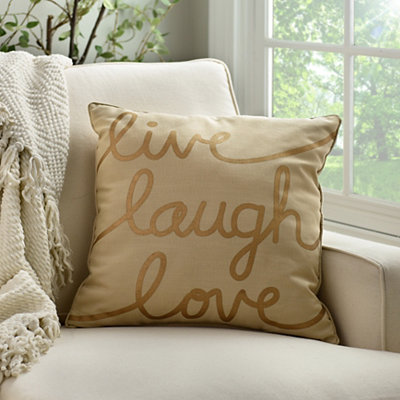 Metallic Gold Live Laugh Love Pillow