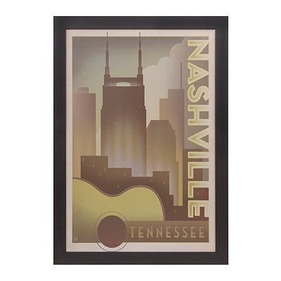 Nashville Guitar and Skyline Framed Art Print