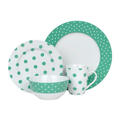 Luxe Teal and White Polka Dot 4-pc. Dinnerware Set