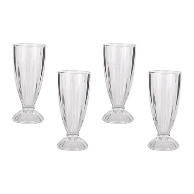 Clear Milkshake Glasses, Set of 4