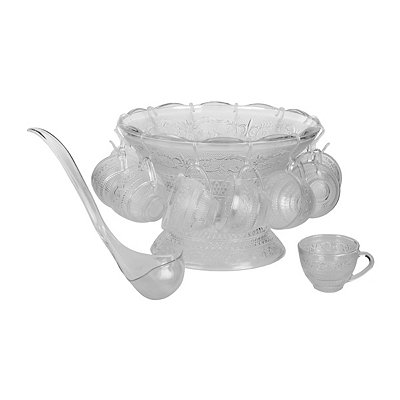 Cromwell Glass Punch Bowl and Cups Set