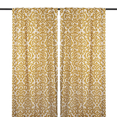 Yellow Darby Curtain Panel Set, 84 in.