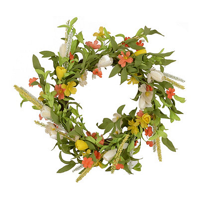 Orange Spring Medley Wreath