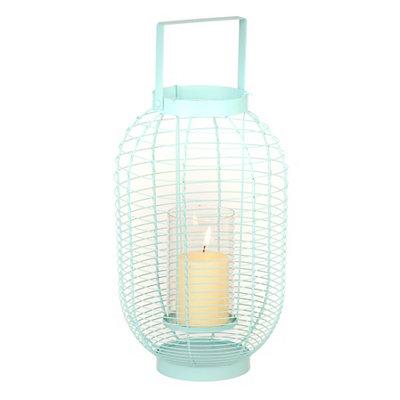 Aqua Metal Wire Lantern