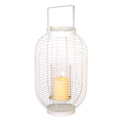 White Metal Wire Lantern