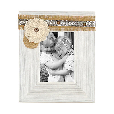 White Distressed Sadie Picture Frame, 5x7