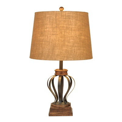 Dark Teak Metal Table Lamp