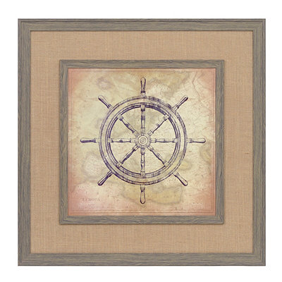 Indigo Ship's Wheel Framed Art Print