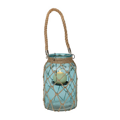 Netted Aqua Glass Lantern