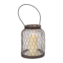 Chicken Wire Clear Glass Lantern