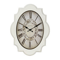 Distressed White Geometric Clock