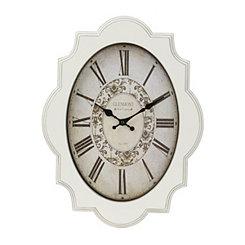 Distressed White Geometric Clock