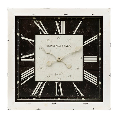 Distressed Black and White Wooden Clock