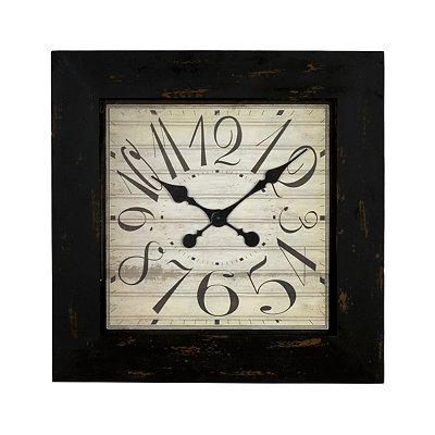 Distressed Black Square Clock