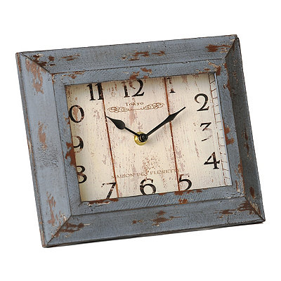 Distressed Blue Wooden Tabletop Clock
