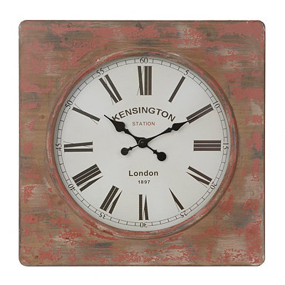 Distressed Red Rustic Clock