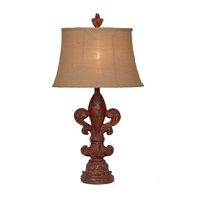 Distressed Red Fleur-de-Lis Table Lamp