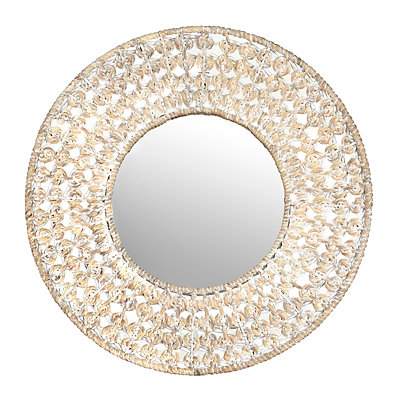 Whitewash Knotted Framed Mirror, 30 in.