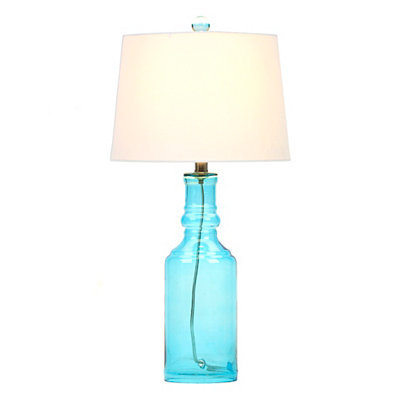Blue Glass Bottle Table Lamp