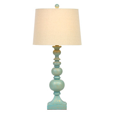 Sky Blue Carved Table Lamp