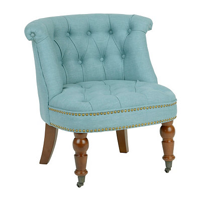Olivia Aqua Tufted Slipper Chair