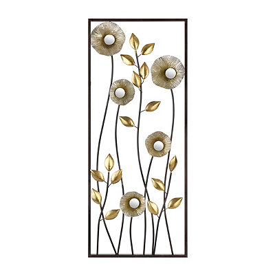 Metallic Flowers I Metal Plaque