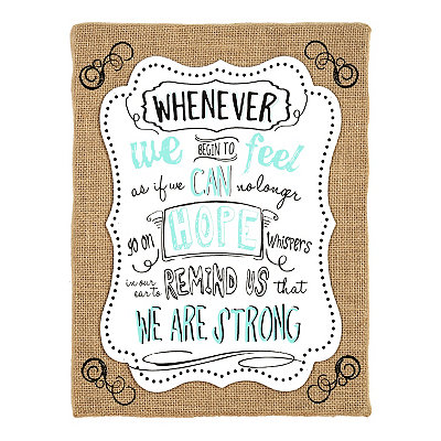 We Are Strong Burlap Canvas