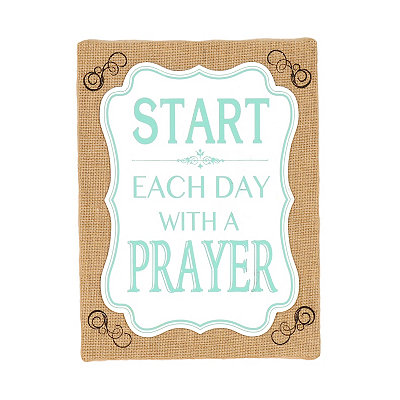 Start Each Day With A Prayer Burlap Canvas