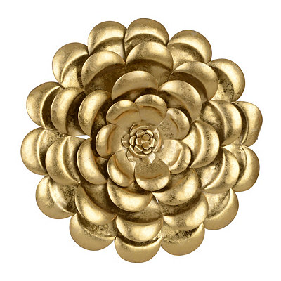 Metallic Gold Flower Metal Plaque, 17 in.