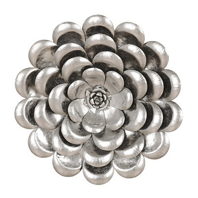 Metallic Silver Flower Metal Plaque, 17 in.