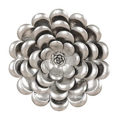 Metallic Silver Flower Metal Plaque, 17 in.