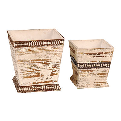 Distressed Ivory Planters, Set of 2